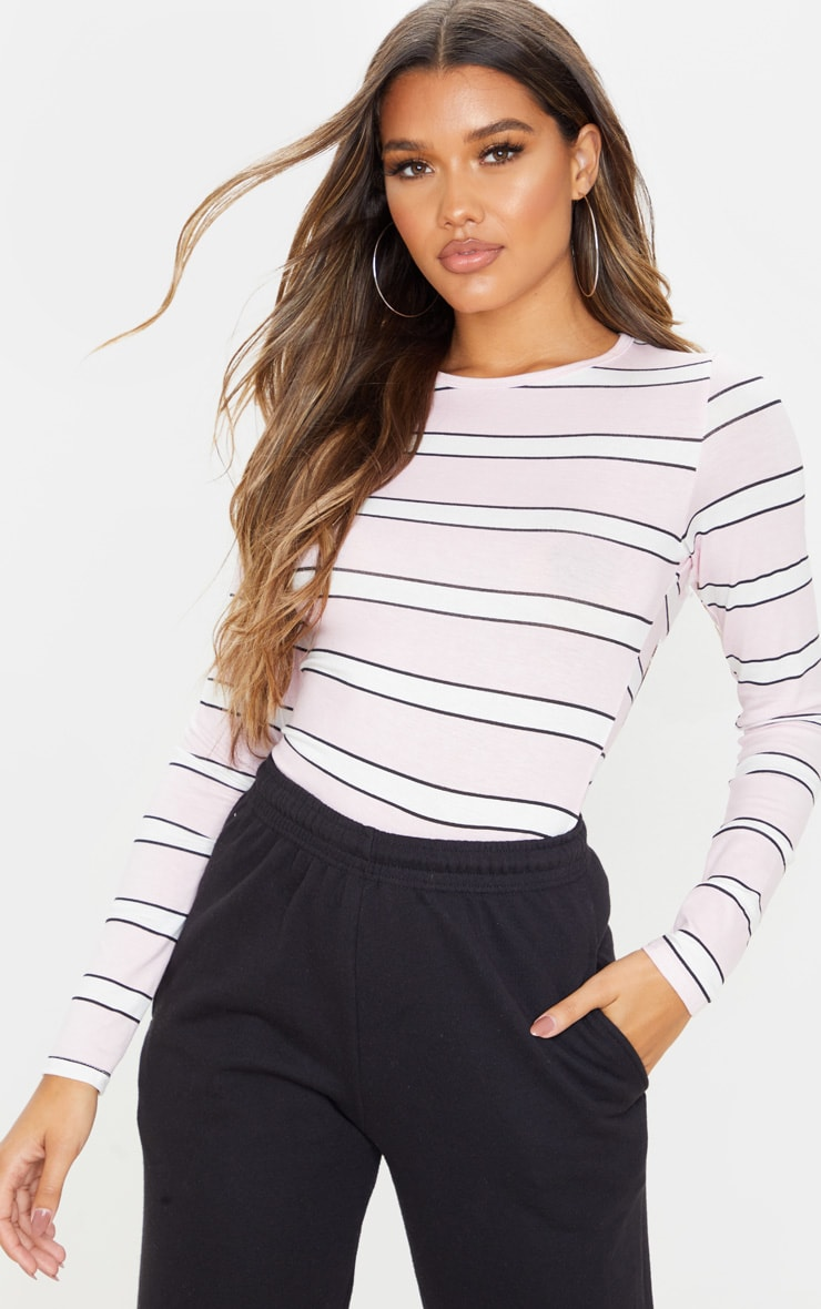 Basic Pink Stripe Long Sleeve Fitted T Shirt  1