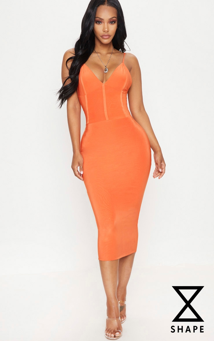 Shape Orange Slinky Panelled Midi Dress
