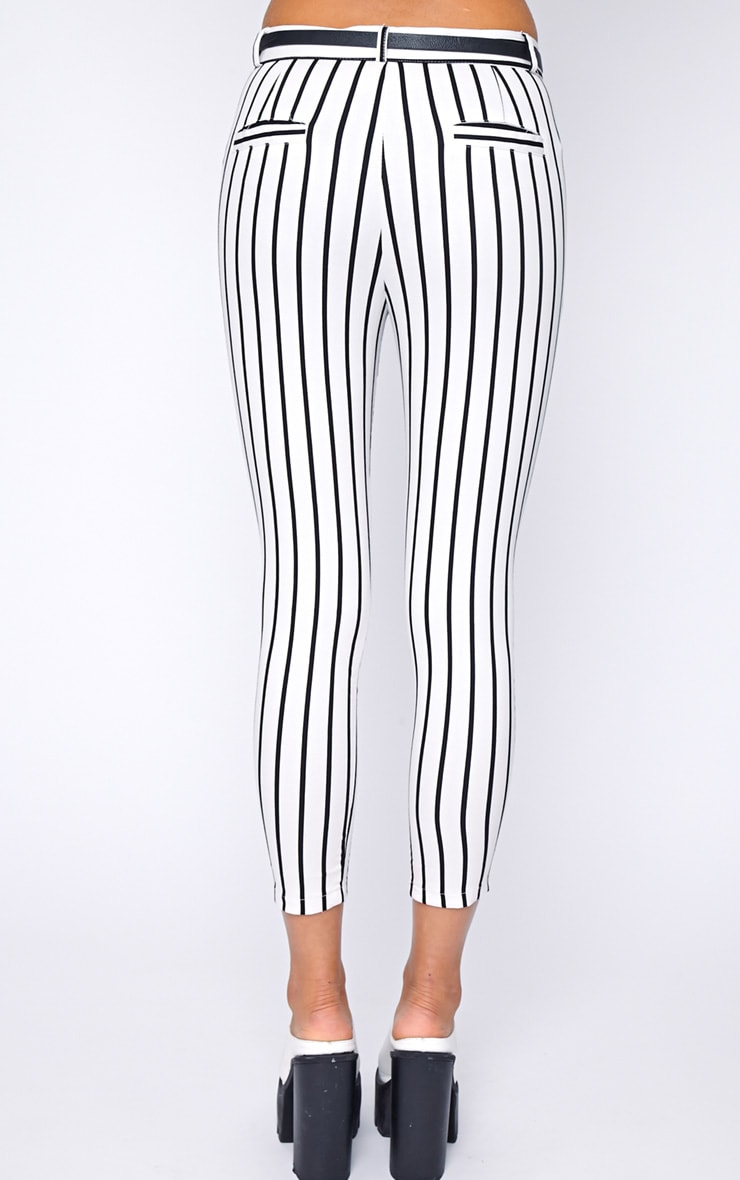 Cassie White Stripe Cropped Trouser  2
