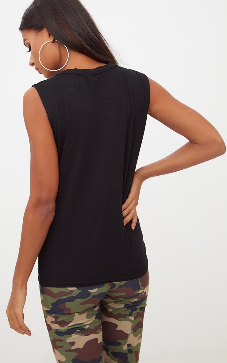 Black Basic Crew Neck Vest 2