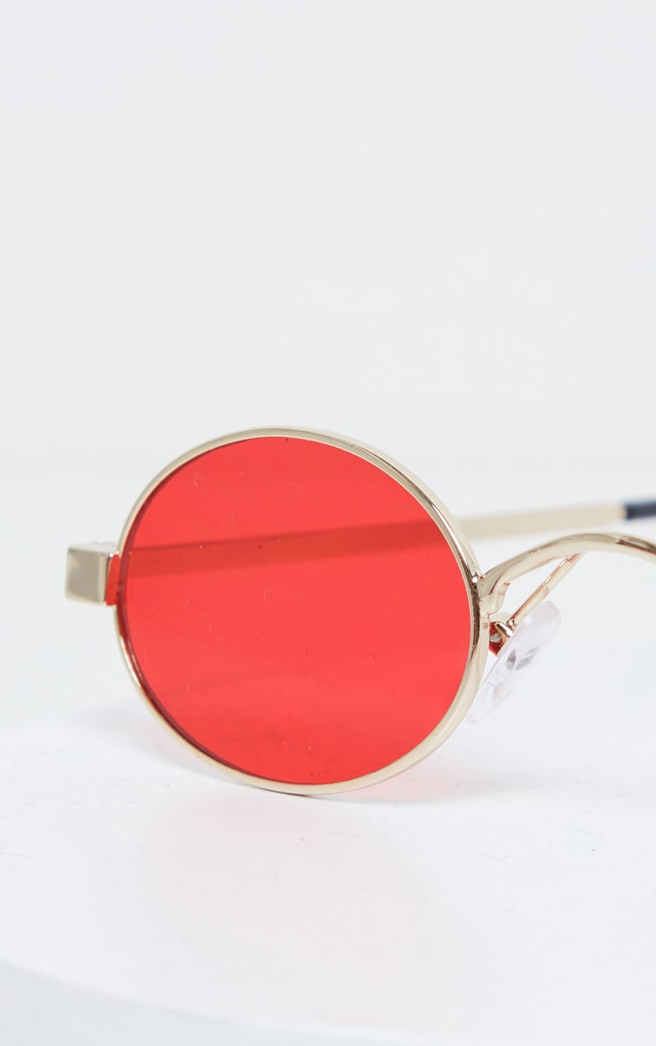 Red Small Squashed Round Lens Sunglasses  3