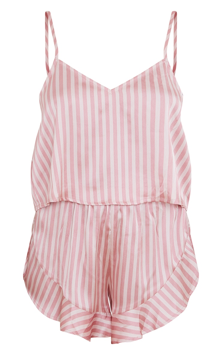 Baby Pink Stripe Satin Frill Cami Short PJ Set 5