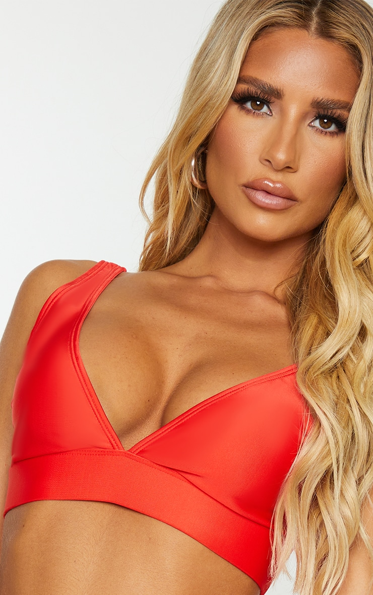 Red Mix & Match Recycled Fabric Plunge Bikini Top 4