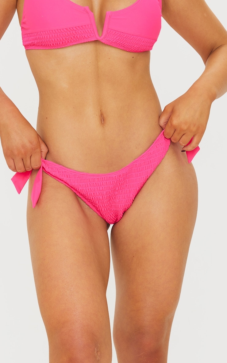 Pink Smocked Tie Side Bikini Bottoms 4
