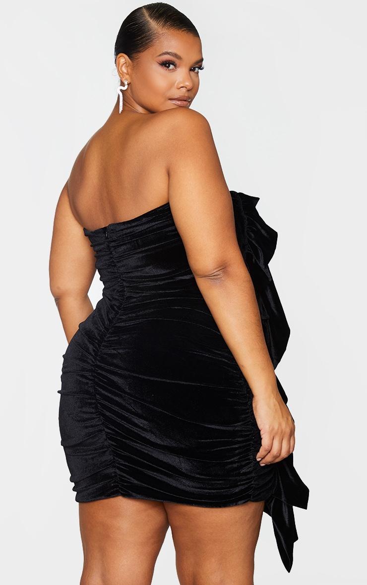 Plus Black Velvet Ruched Bandeau Dress 2