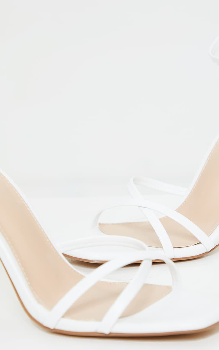 White Side Cross Over Square Front High Heel 4