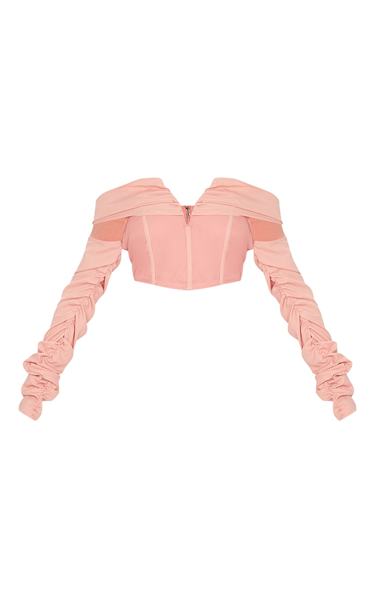 Salmon Woven V Bar Draped Front Ruched Sleeve Crop Top 4