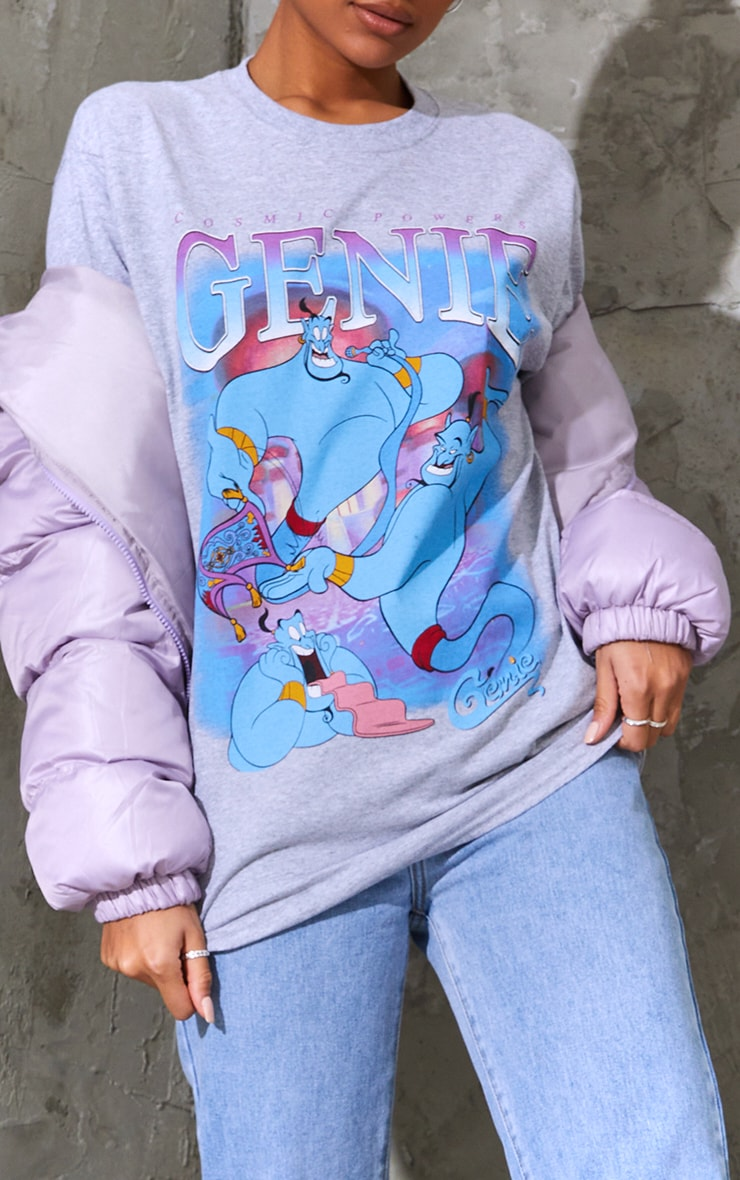 Marl Grey Disney Genie Printed T Shirt 4