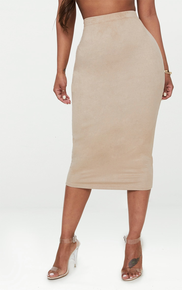 Shape Stone Faux Suede Midi Skirt 2