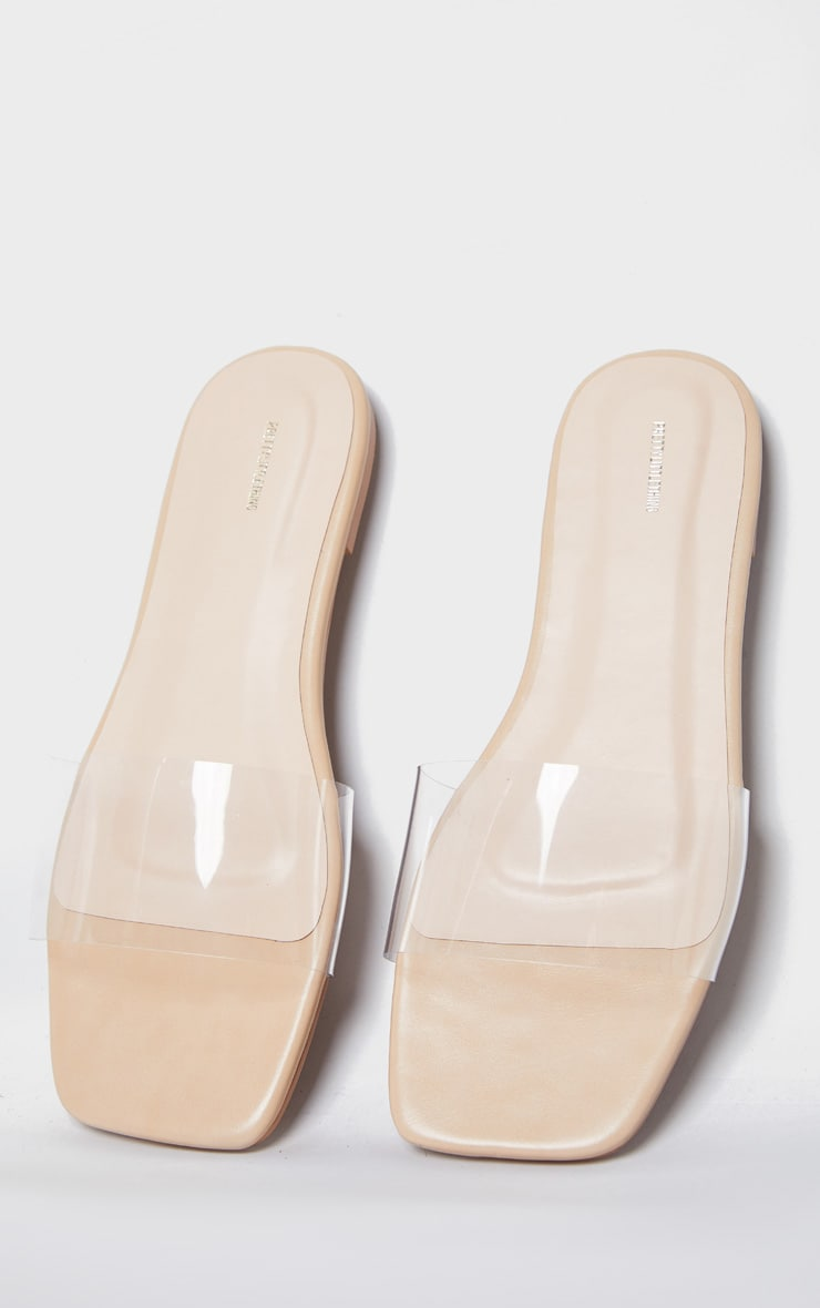 Nude Pu Clear Strap Mule Sandals 3