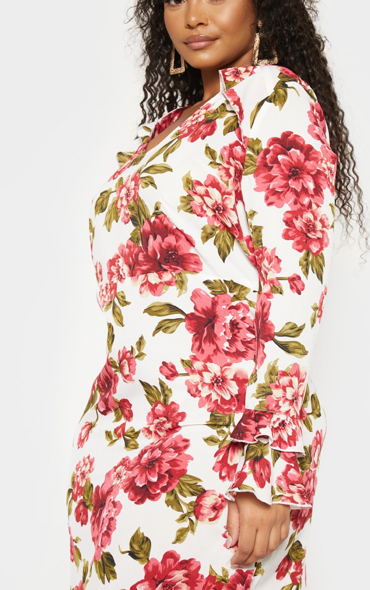 Plus Cream Floral Ruffle Detail Shift Dress 5