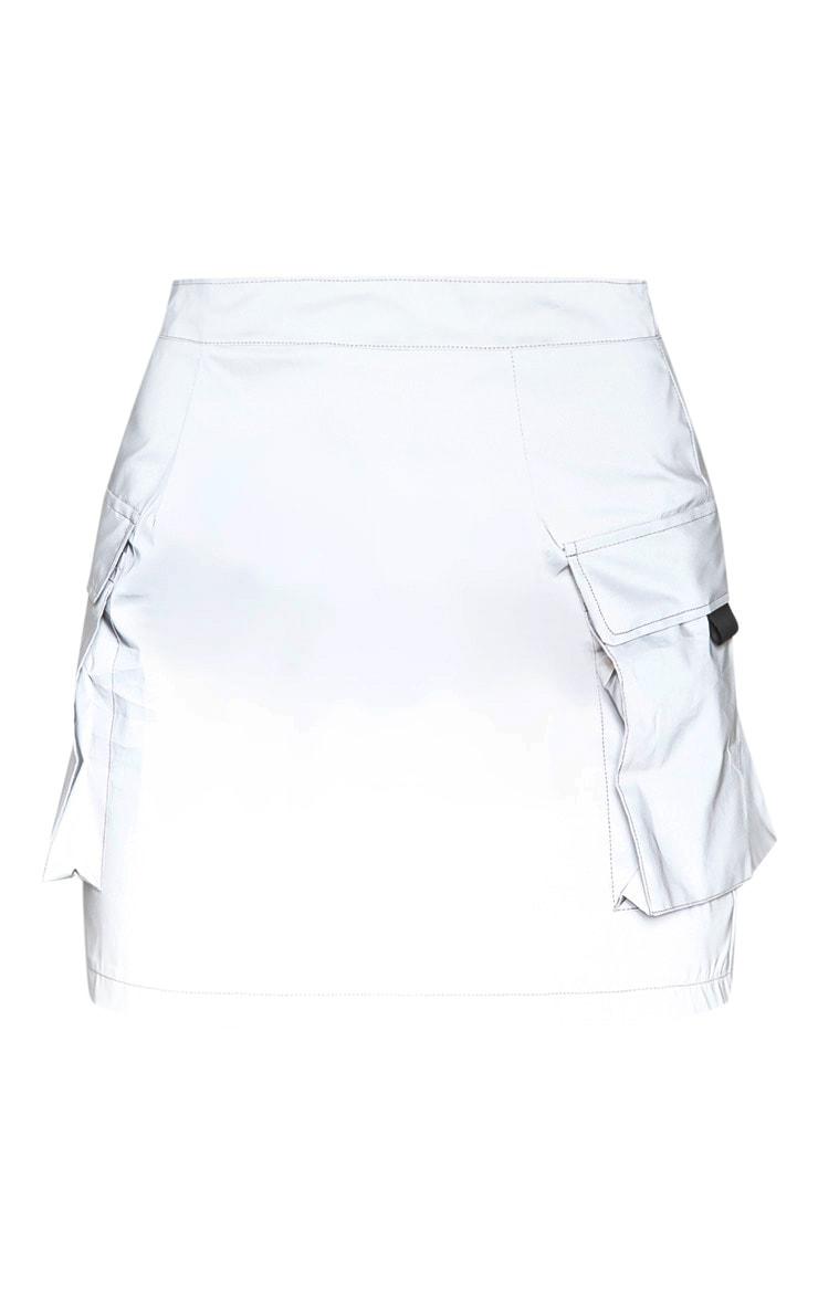 Grey Pocket Detail Reflective Bodycon Skirt 3