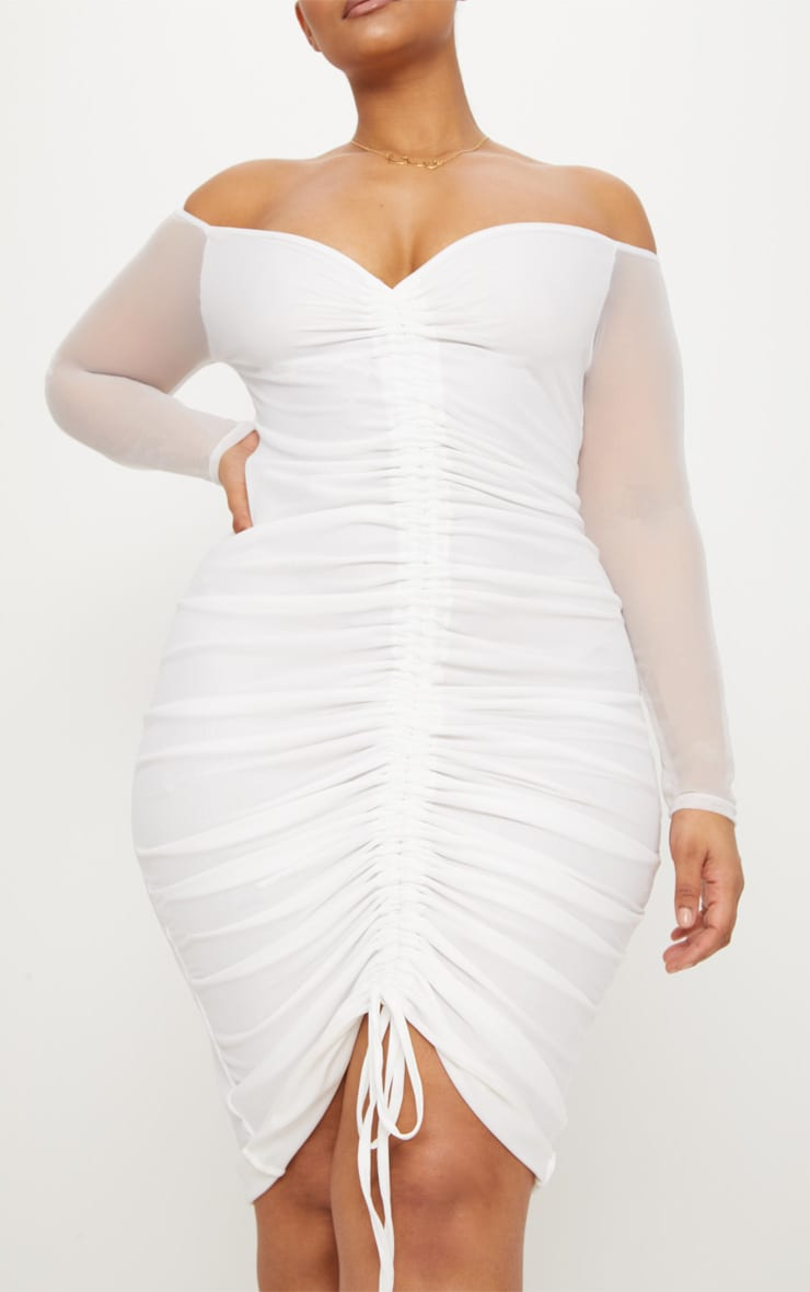 Plus White Mesh Ruched Bardot Midi Dress 5