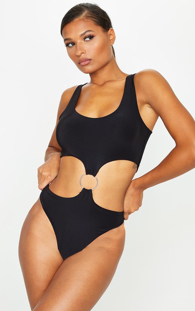 Black Slinky O Ring Cut Out Detail Bodysuit 2