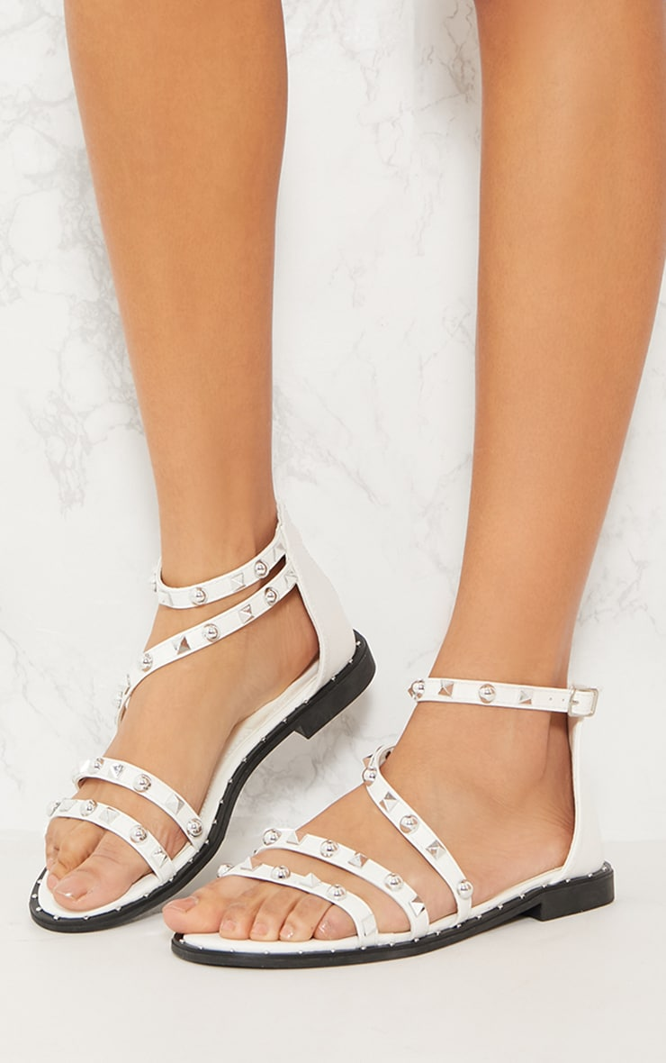 White Studded Strappy Flat Sandals 2