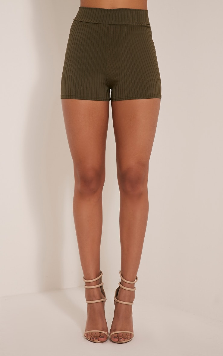 Janice Khaki Ribbed Shorts 2