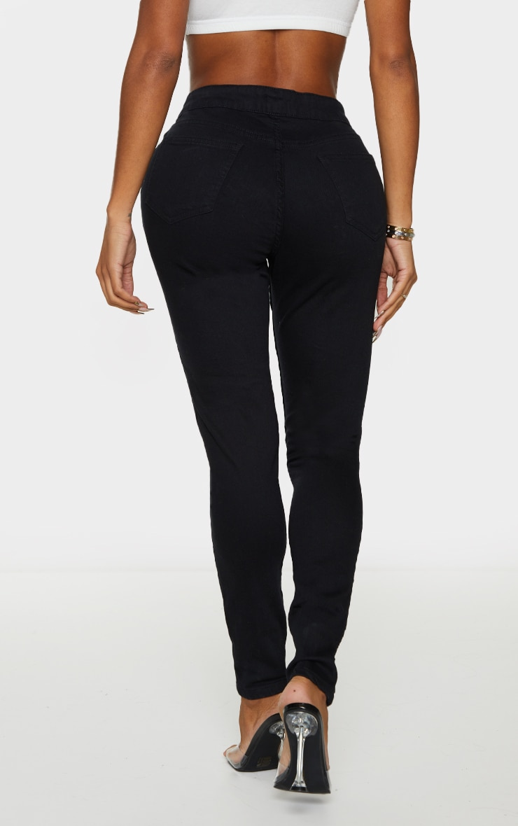 Shape Black Button Front High Waist Skinny Jeans 3