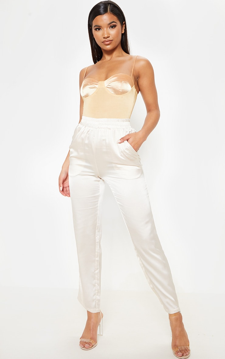 Cream Satin Cigarette Casual Pants 1