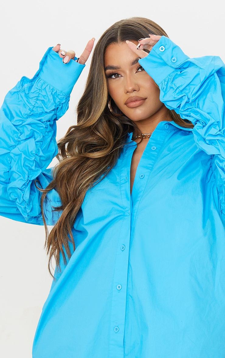 Blue Ruched Sleeve Detail Oversized Shirt Dress 4