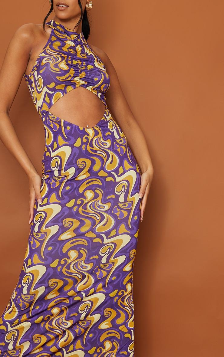 Tall Purple Slinky Cut Out Maxi Dress 4