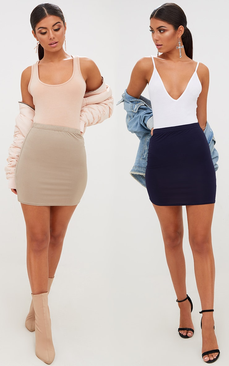 Taupe/Navy 2 Pack Jersey Mini Skirt
