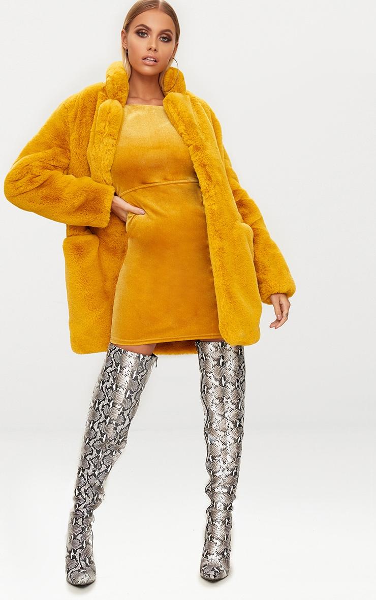 Mustard Velvet Strappy Tie Back Bodycon Dress 4