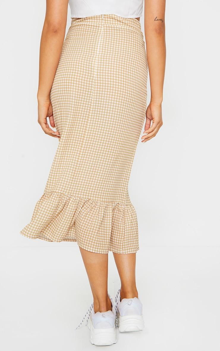 Stone Gingham Frill Hem Midaxi Skirt 3