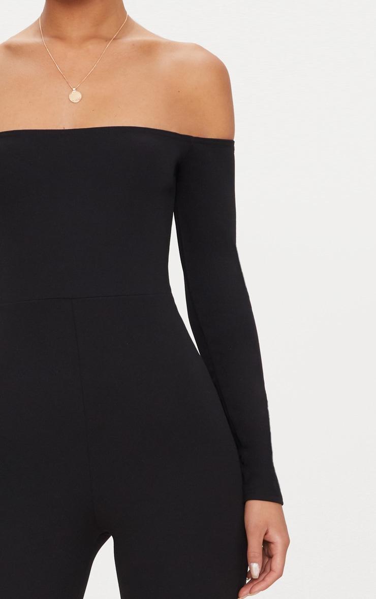 Combinaison Bardot noire à manches longues 5