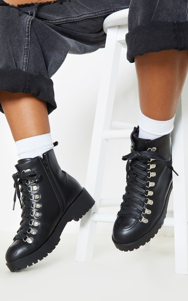 Black Cleated Flat Hiker Lace Up Ankle Boot 2
