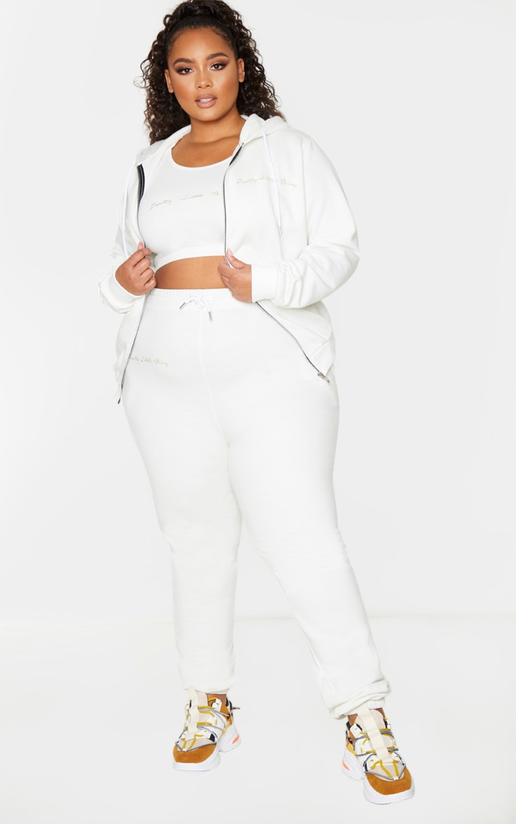 PRETTYLITTLETHING Plus Cream Zip Hoodie 3