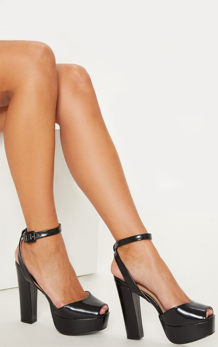 Black Faux Leather Platform Sandal 1