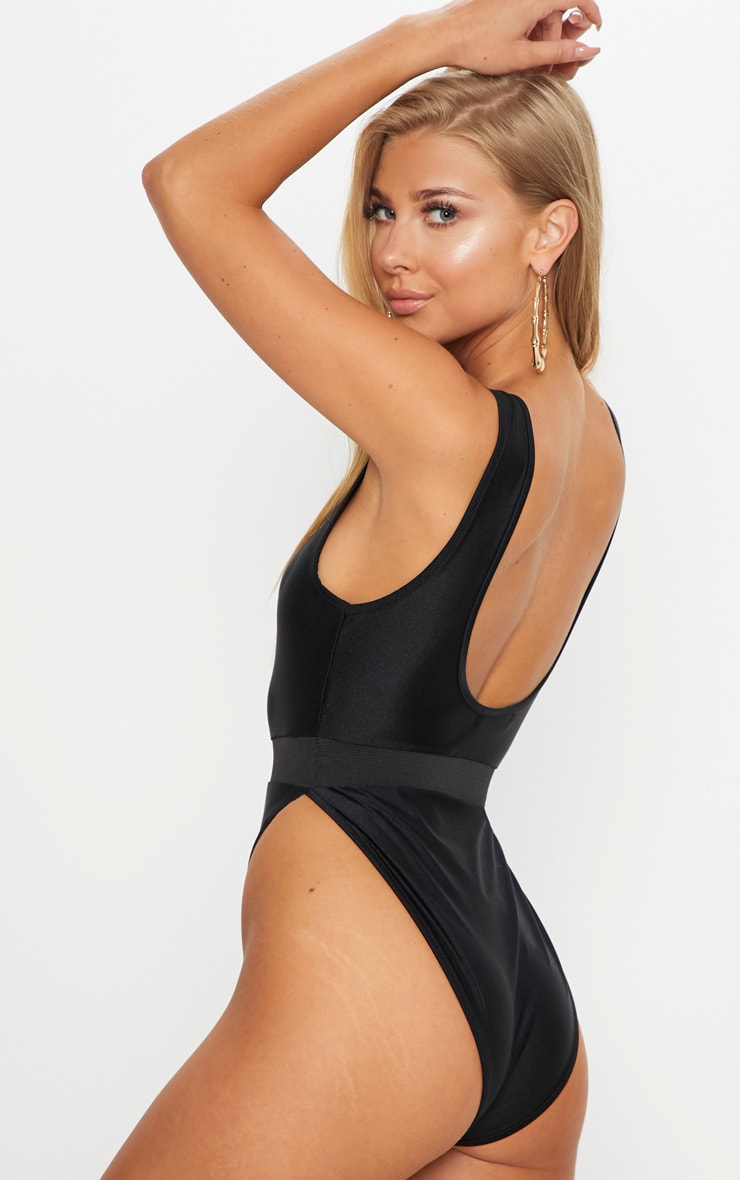 Black  Elastic Waist High Leg Swimsuit 2