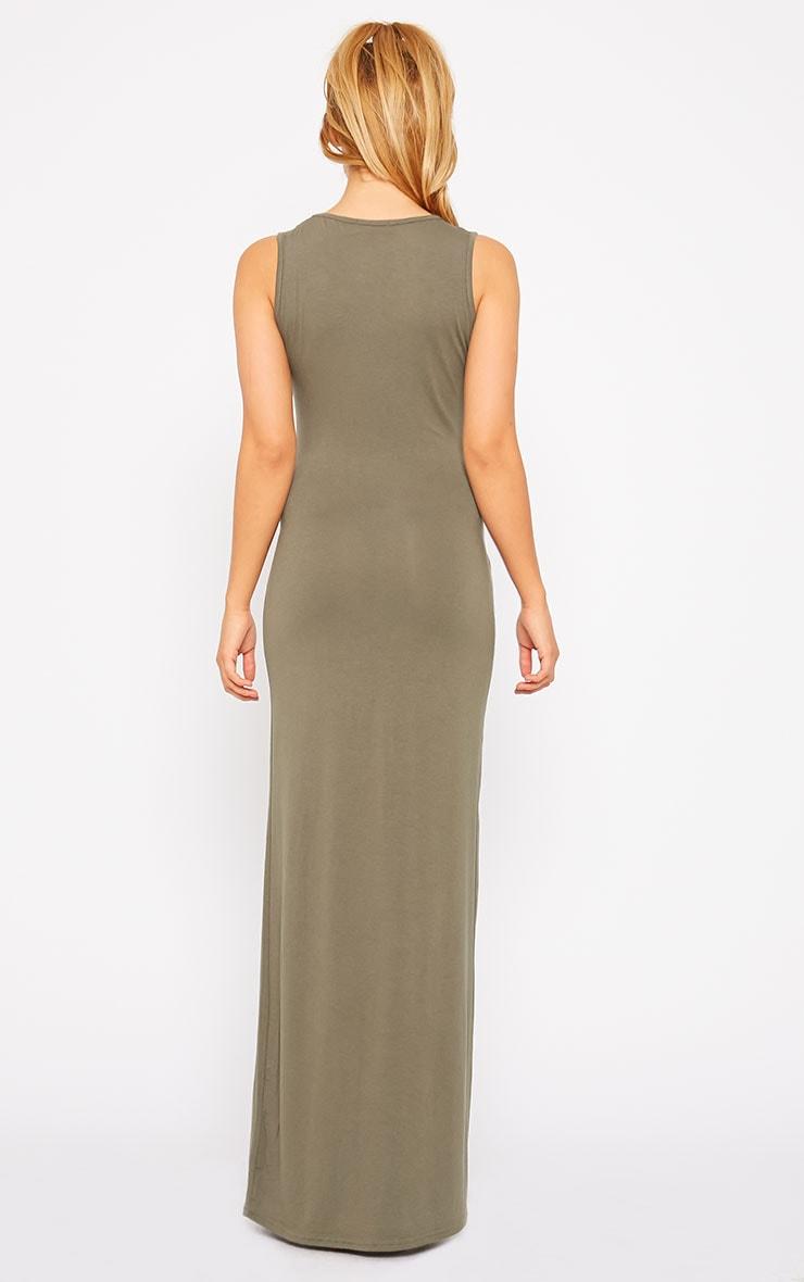 Annie Khaki Tie Front Maxi Dress 2
