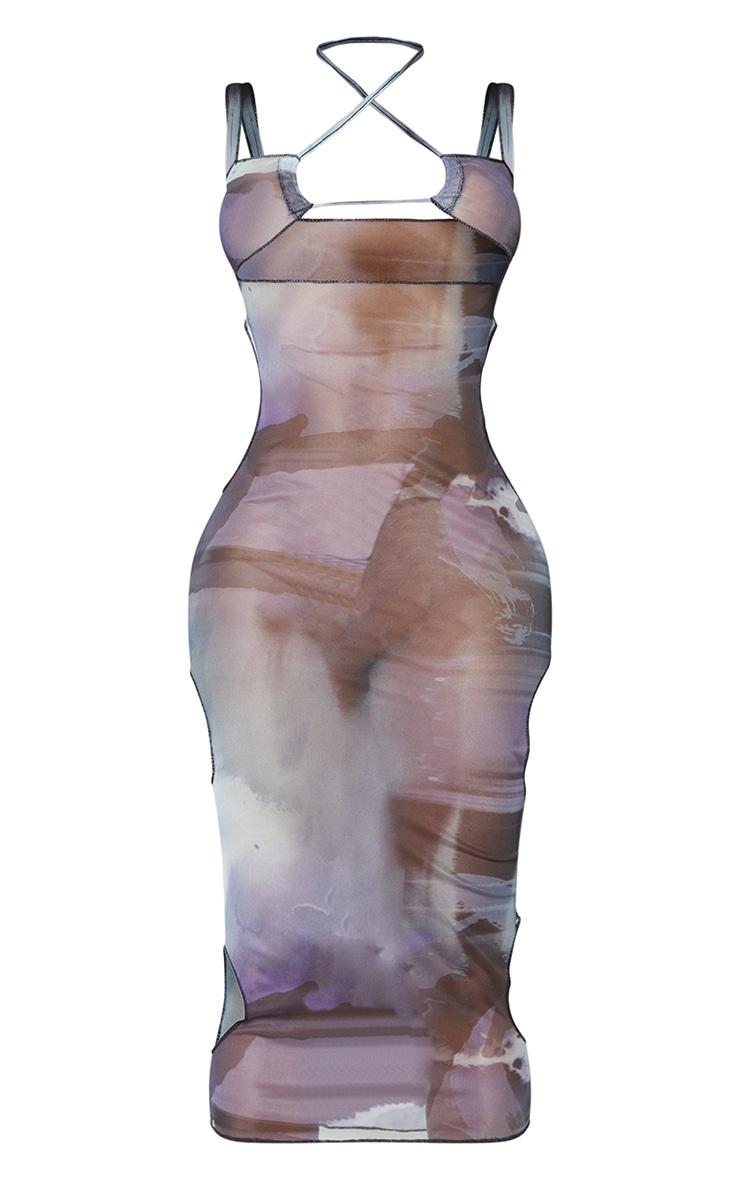 Shape - Robe longue en mesh transparent bleu imprimé fumée à découpe 5