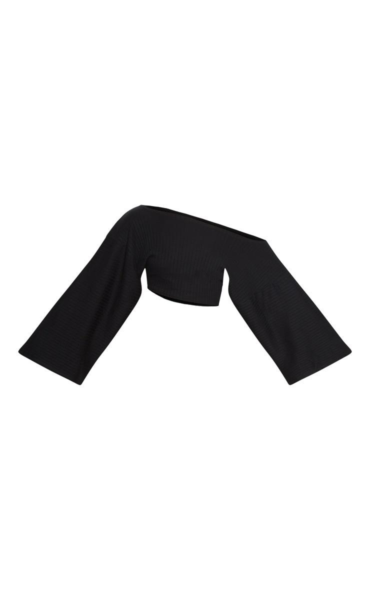 Black Rib Off The Shoulder Crop Top 3