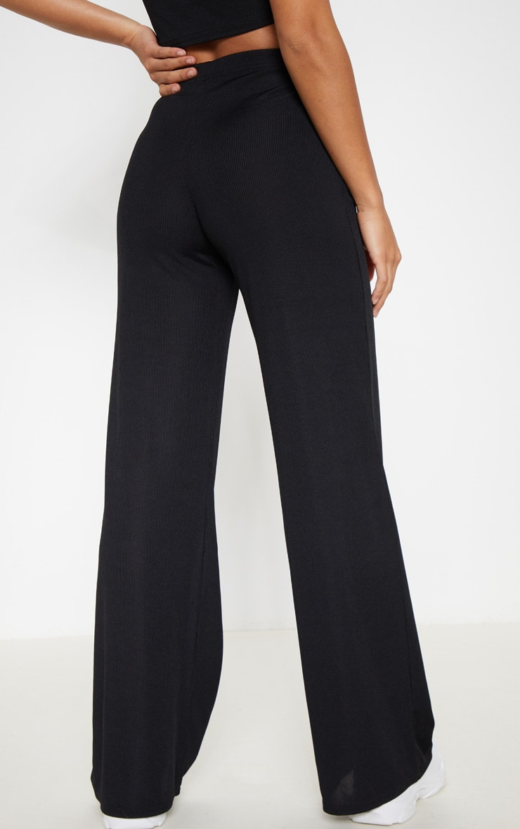 Petite Black Ribbed Wide Leg Trousers 3