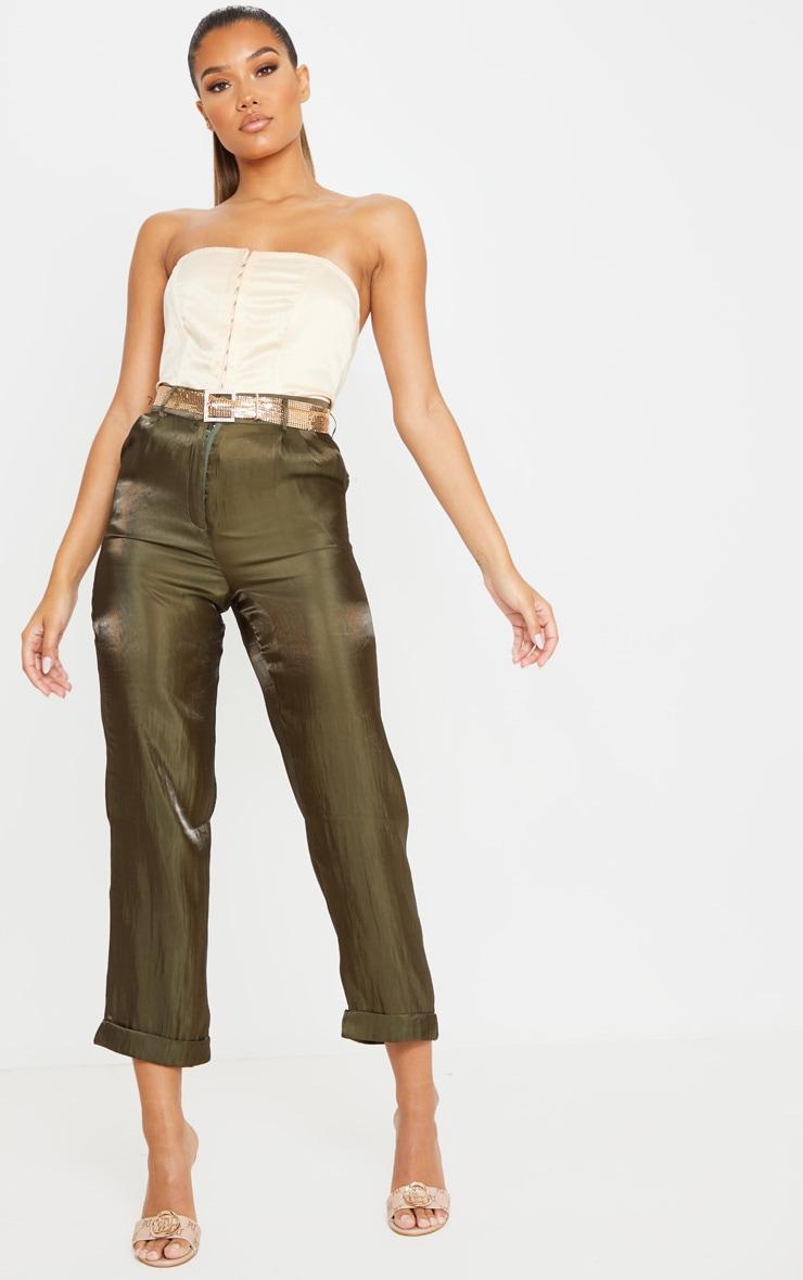 Khaki Shiny Cropped Turn Up Pants 1