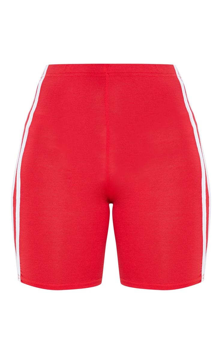 Red Double Side Stripe Bike Short 3