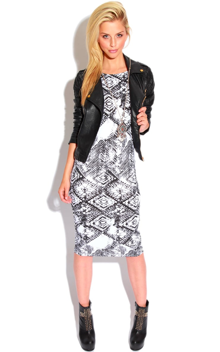 Trisha Monochrome Tile Print Sleeveless Midi Dress 4