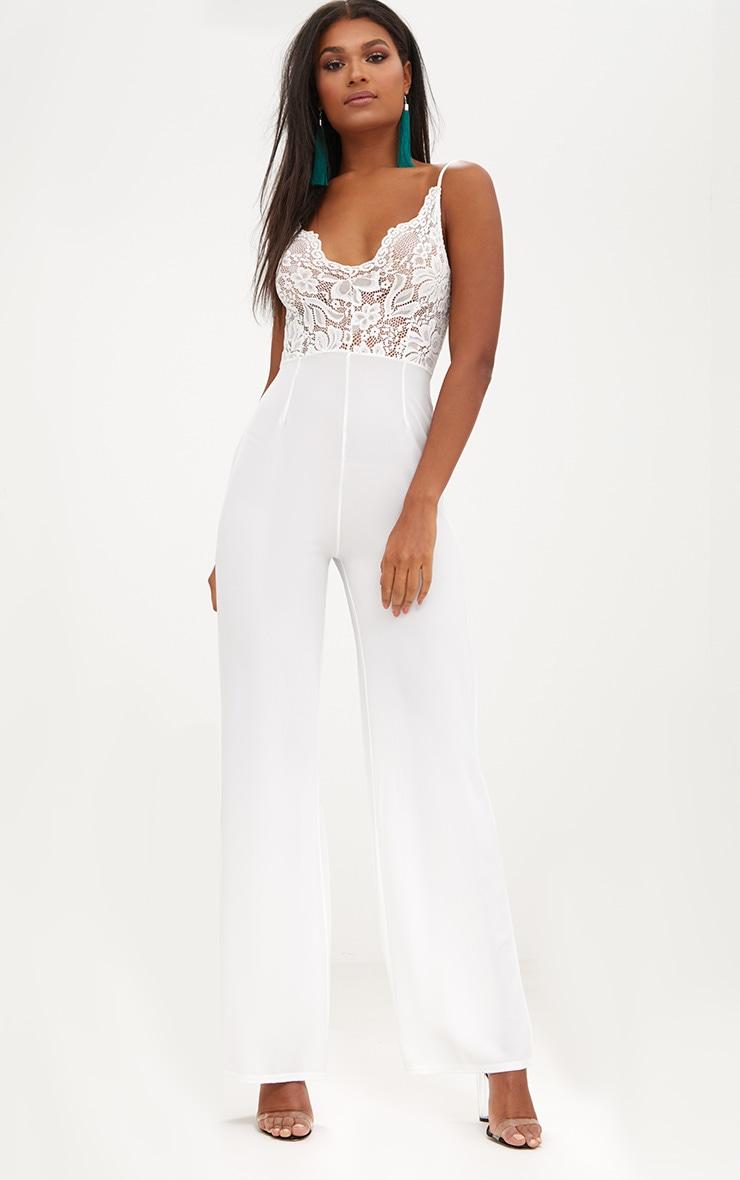 White Lace Wide Leg Jumpsuit Jumpsuits Playsuits