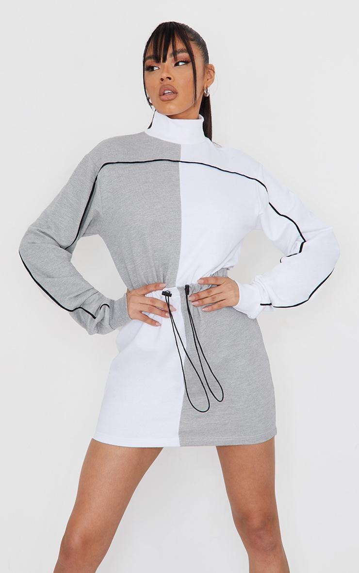 Grey Contrast Block High Neck Toggle Waist Sweatshirt Dress 3