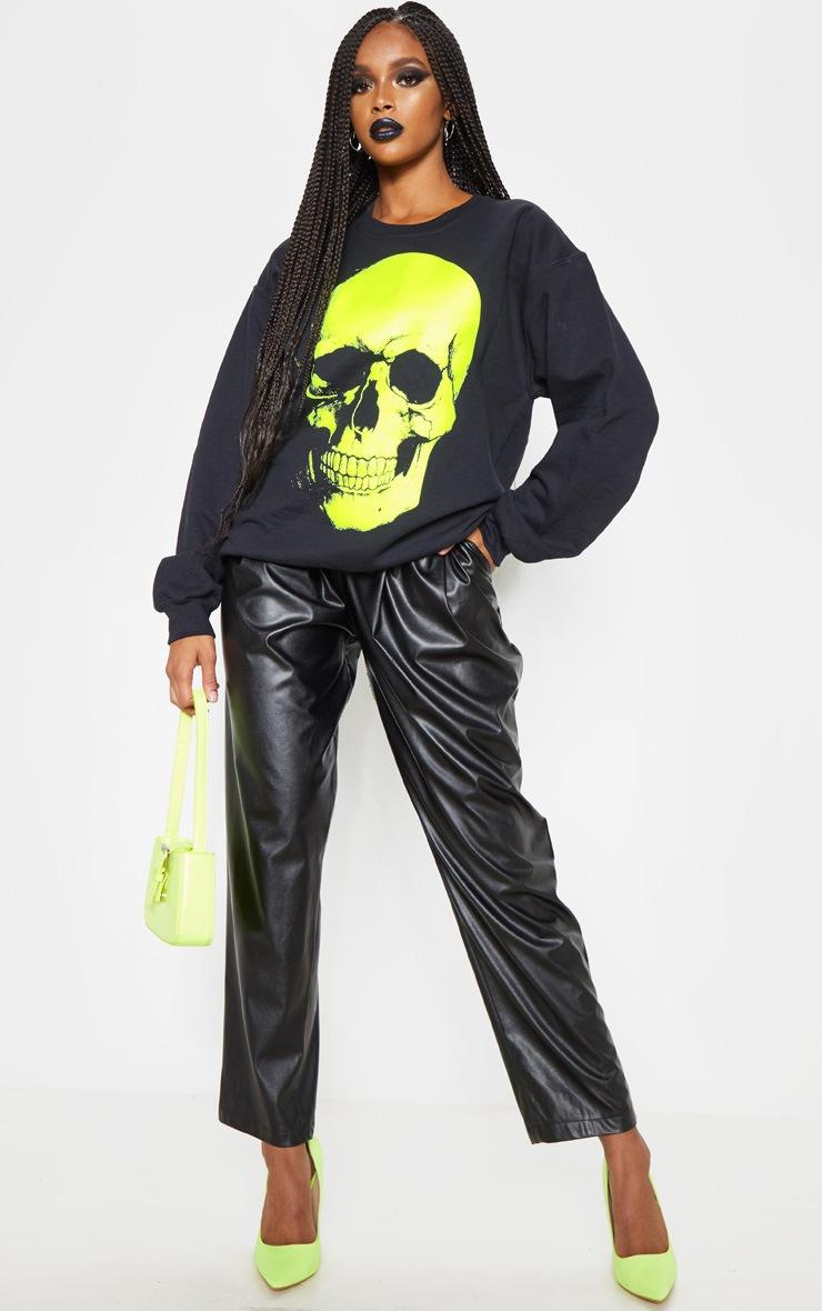 Black Neon Skull Print Oversized Sweater 4