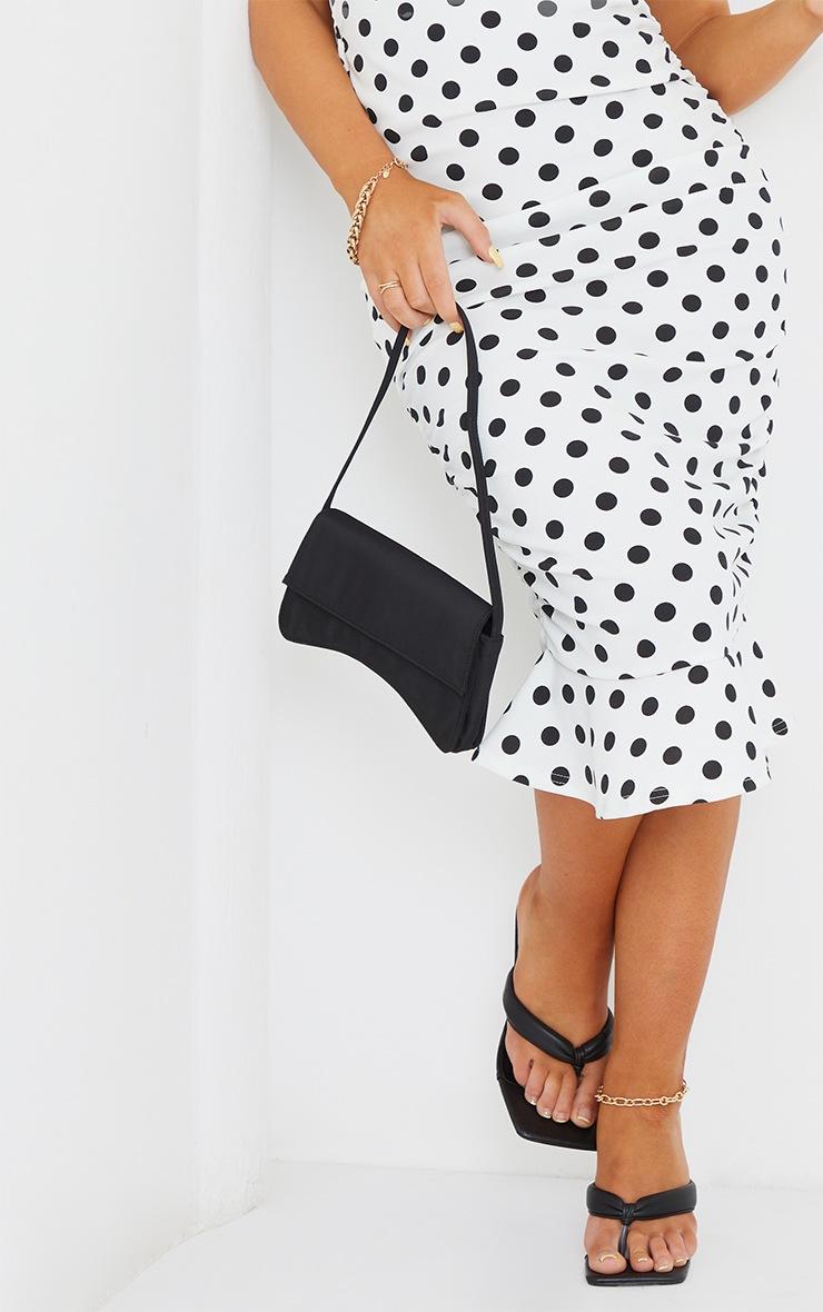 White Polka Dot Puff Sleeve Ruched Frill Hem Midi Dress 4