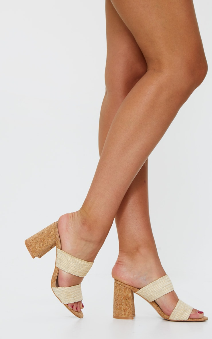 Natural Cork Twin Strap Block Heel Mule Sandal 1