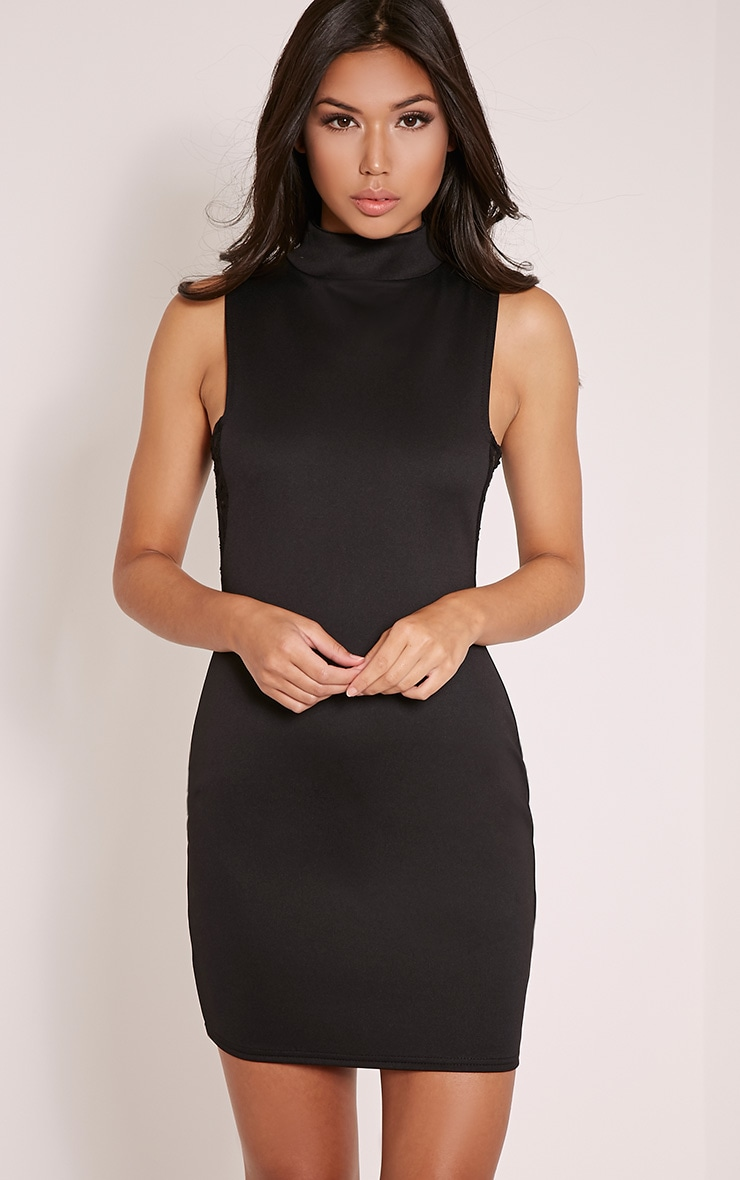 Hayley Black Lace Side Bodycon Dress 5
