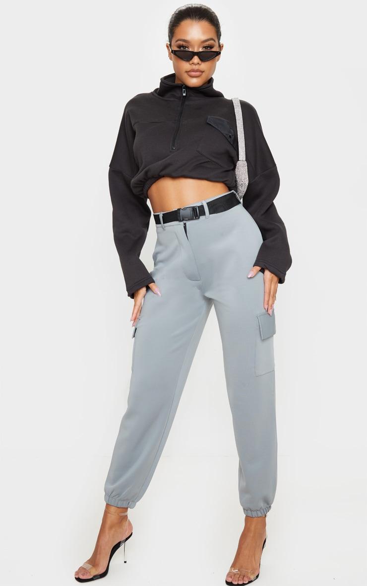 Grey Belted Scuba Cargo Trousers 1