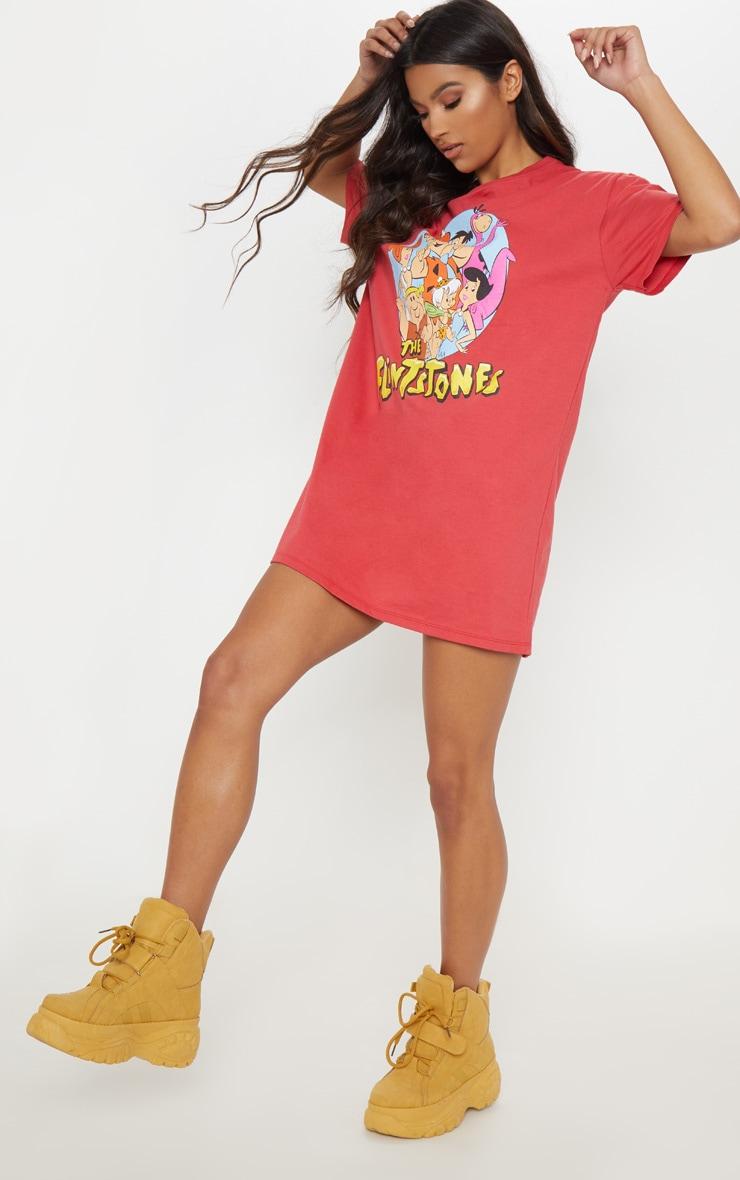 Red The Flintstones Oversized Boyfriend T Shirt Dress 1