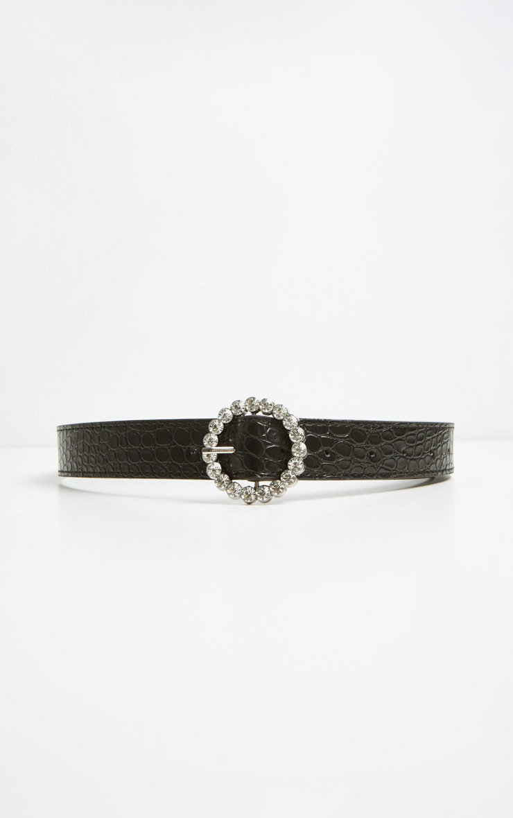 Black Patent Croc Gemstone Round Buckle Belt 2
