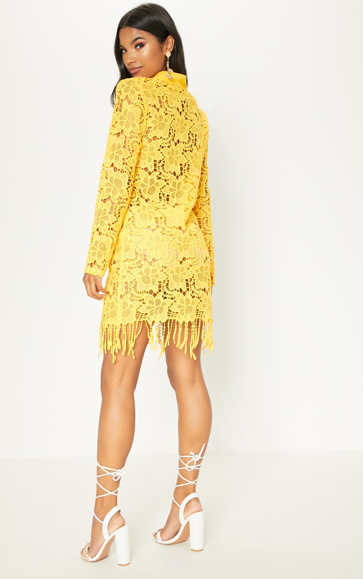Yellow Sheer Crochet Shirt Dress 2