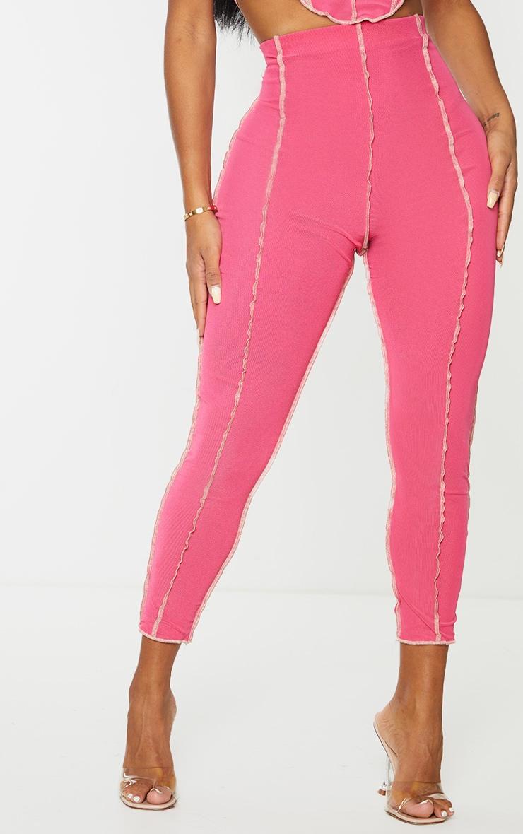 Shape Hot Pink Mesh Seam Detail Cropped Leggings 3